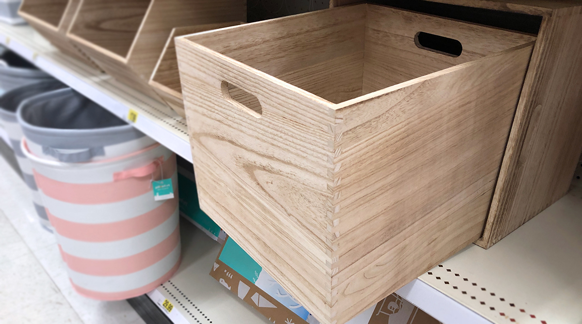 grown up Pillowfort items — large wooden storage bin