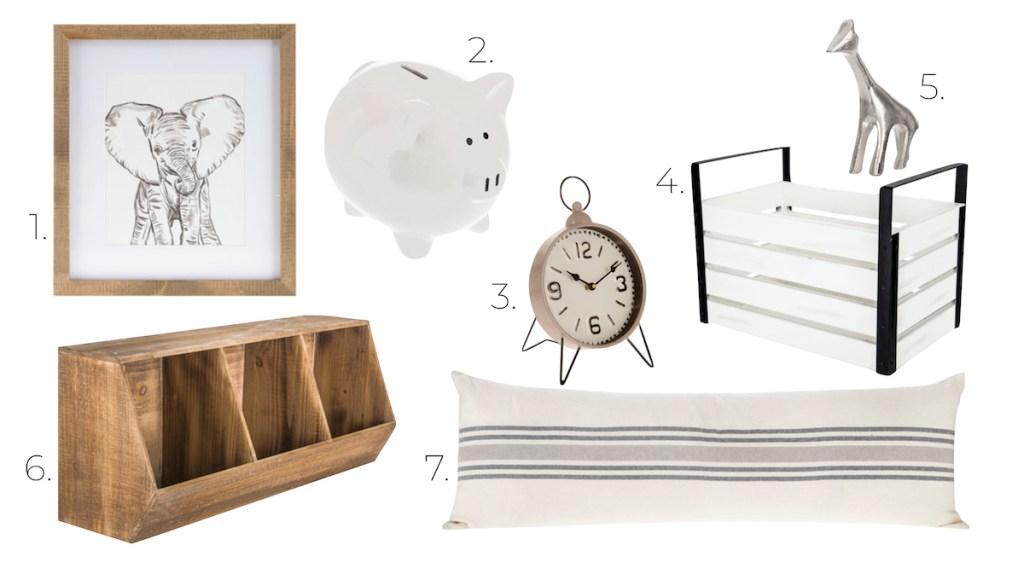 minimalist animal room decor elephant print white piggy bank clock crate silver giraffe wall storage lumbar stripe pillow