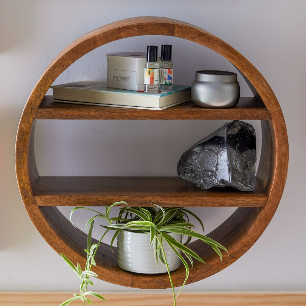 Round Mango Wood Wall Shelf