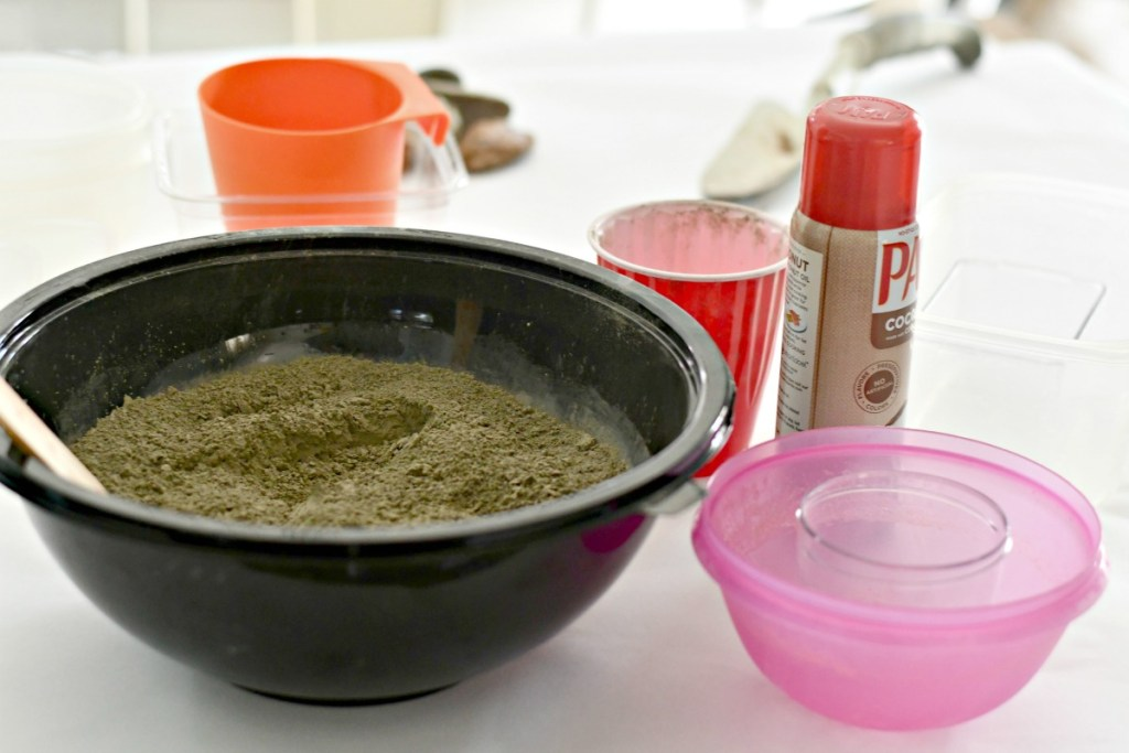DIY concrete flower pot and planter supplies on the counter