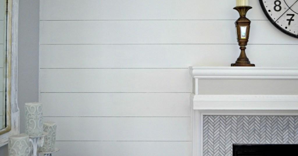 DIY white shiplap wall