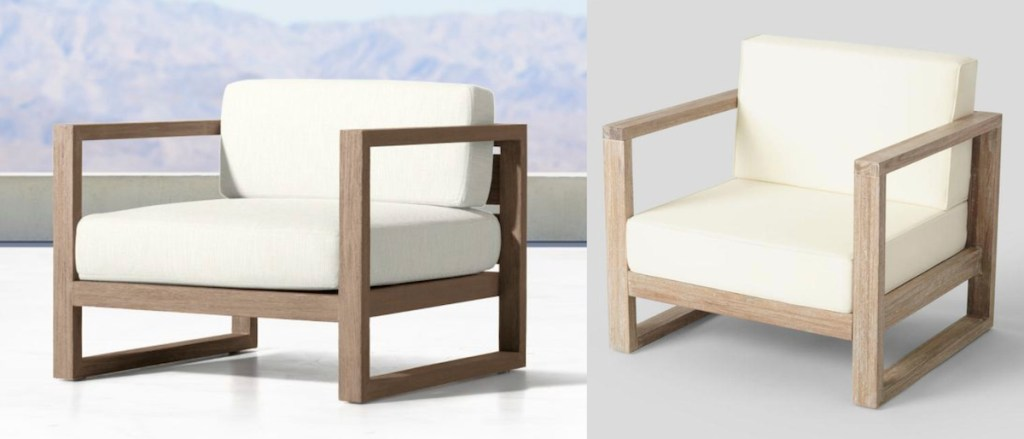 two side by side comparisons of white and wood modern chair