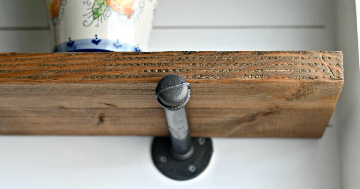 closeup of an industrial pipe shelf