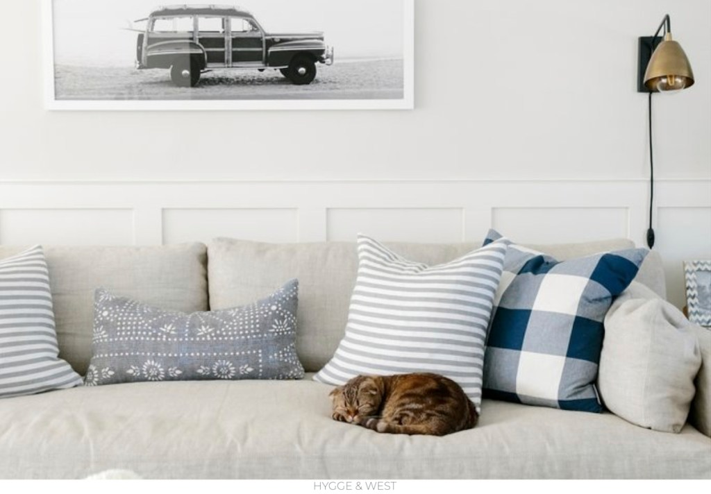 cat sleeping on beige sofa with blue and gray pillow and gold wall sconce on wall next to beach theme artwork