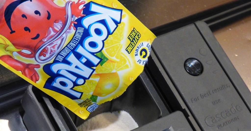 lemonade Kool-Aid in a dishwasher detergent well