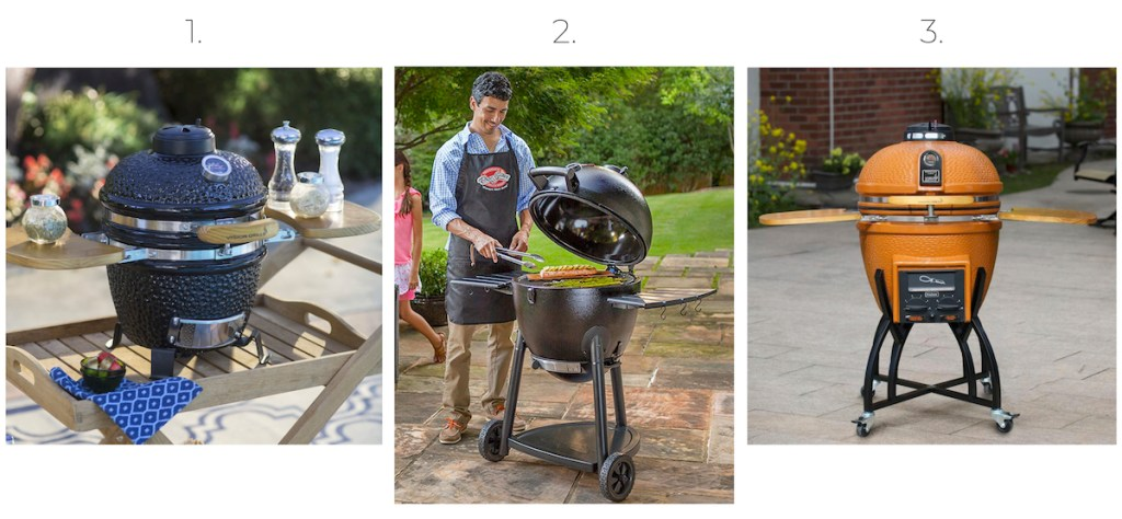 different styles and colors of egg shaped grills sitting outside
