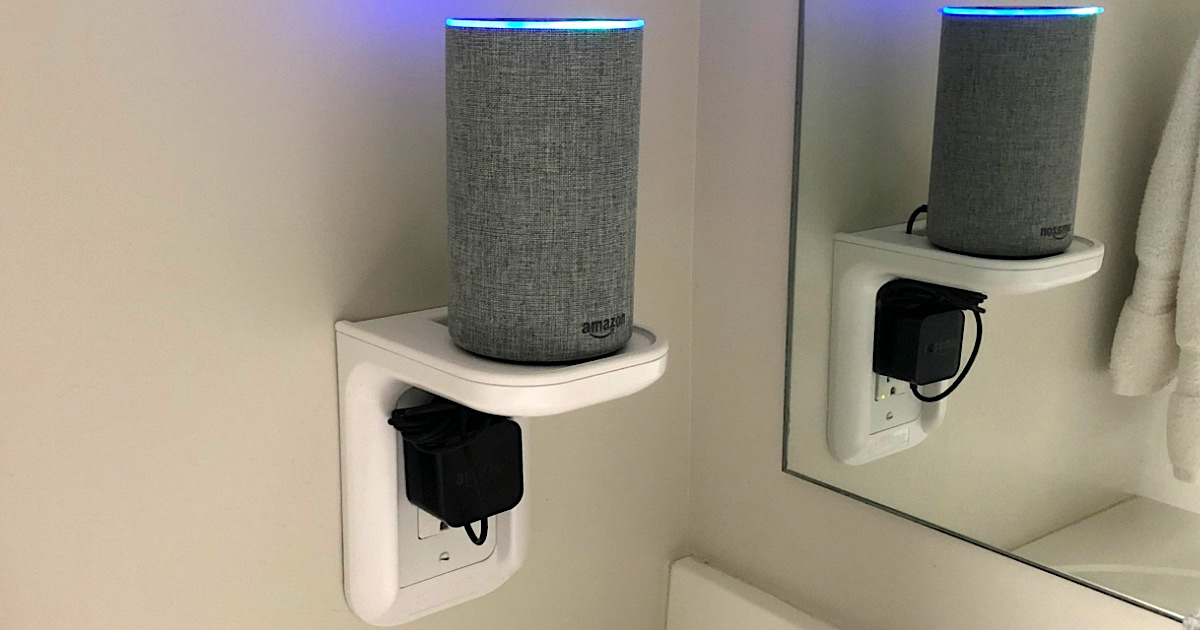 outlet shelf with Amazon Alexa sitting on top