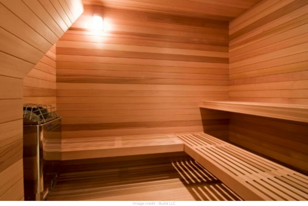 inside of steam sauna with light on