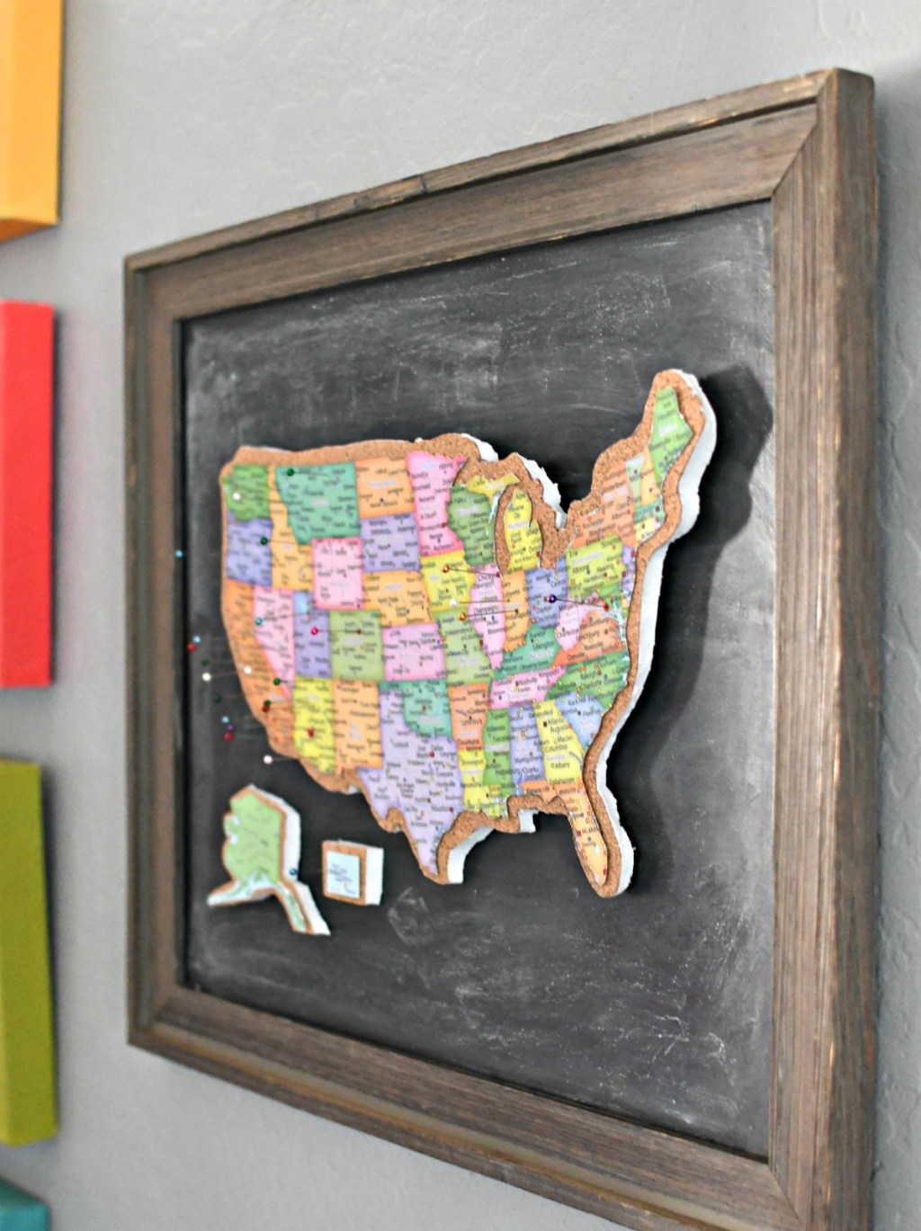 DIY Cork Board Map of US framed