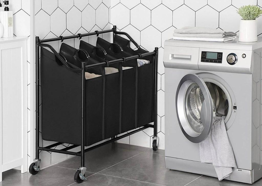 black laundry sorter cart