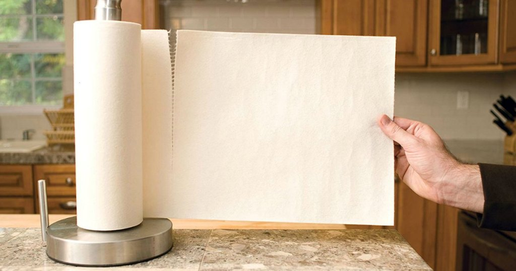 pulling out reusable paper towels