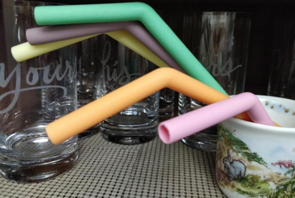 colorful silicone straws in rabbit mug