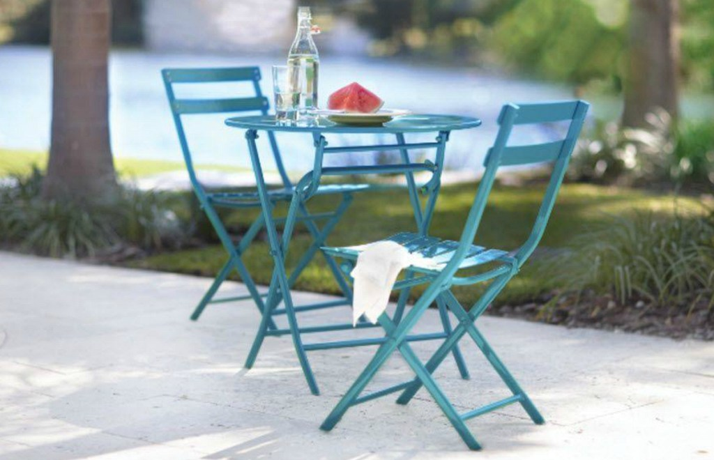 blue bistro patio set outdoors