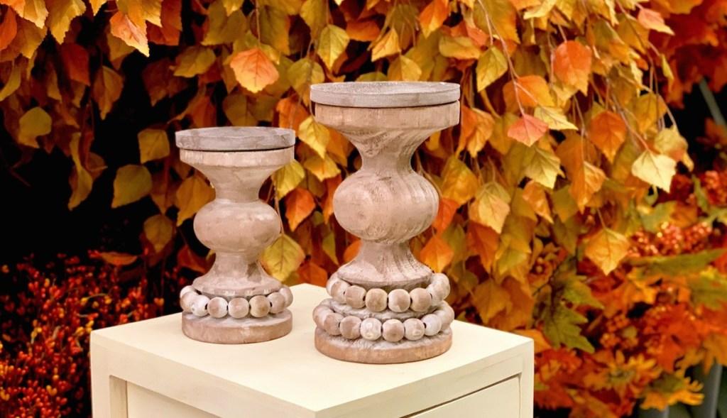 wood beaded boho candle holders sticks