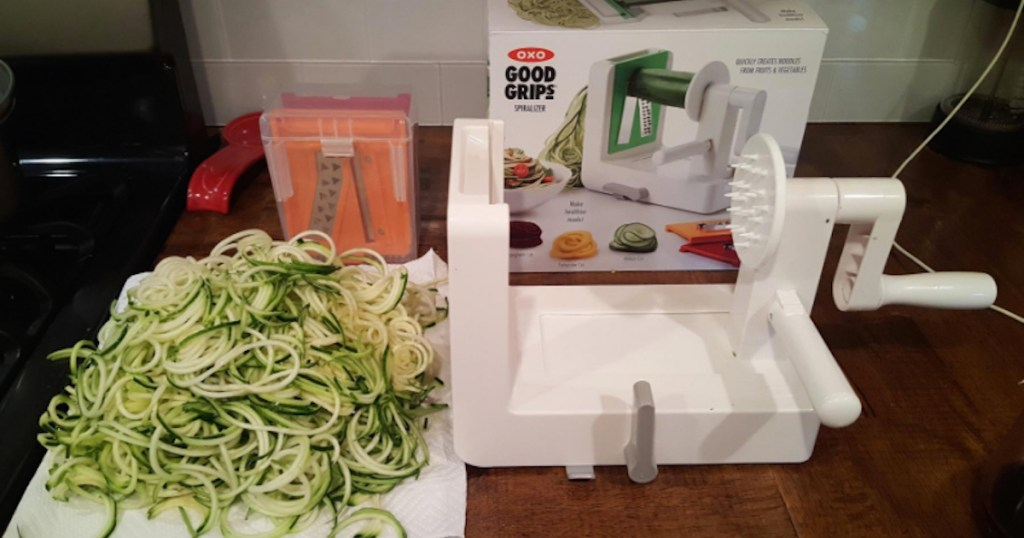 oxo food slicer with zucchini on towel