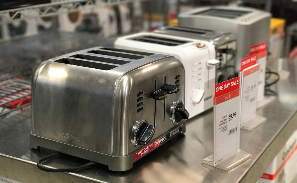 line of new toasters in store