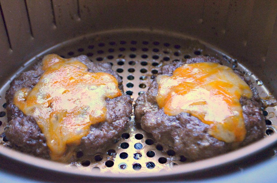 Hamburger cooks up perfectly in the air fryer.