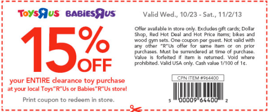 Toys R Us Babies R Us 15 Off Entire Clearance Toy Purchase