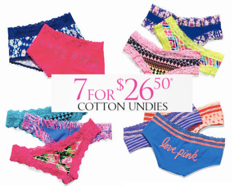 5f16a9f767b Victoria s Secret  7 Cotton Panties for  26.50 + Select Bras On Sale ...