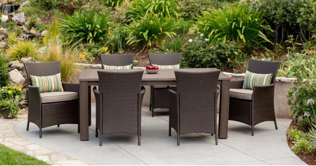 hampton bay 7 piece wicker patio set