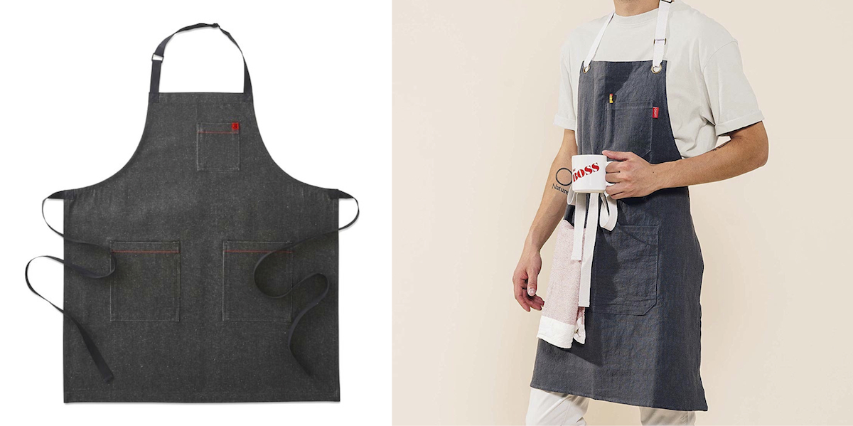 williams sonoma home copycat budget – chambray denim kitchen apron comparison side by side