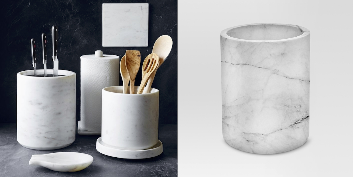 williams sonoma home copycat budget – marble utensil holders side by side comparison