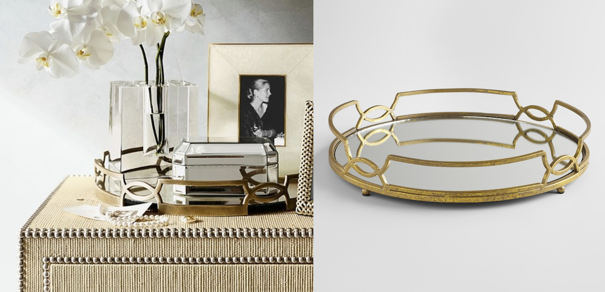 williams sonoma home copycat budget – gold mirrored trays comparisons side by side
