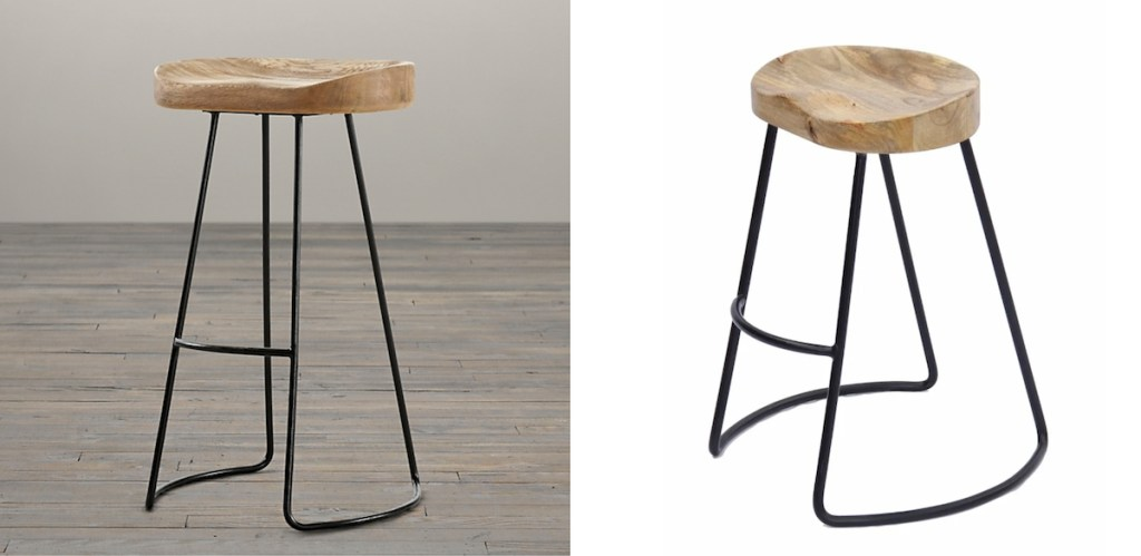 wood barstool side by side pictures with iron base