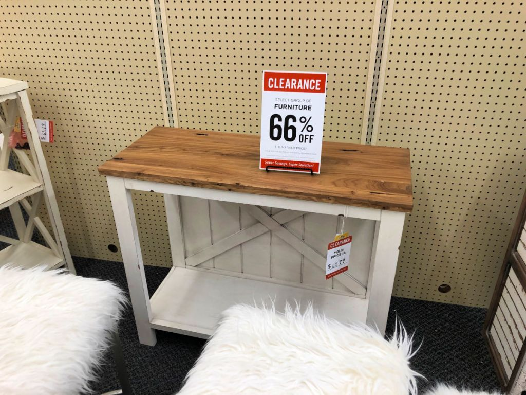 farmhouse white and light wood entry table in hobby lobby with white furry stools