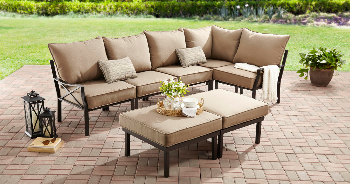 mainstays 4 piece cushioned patio set