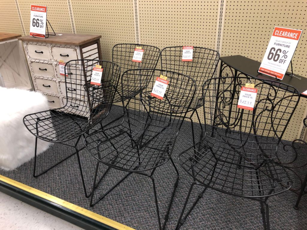 black iron patio chairs in hobby lobby, with white fur cube chair and white wood storage chest