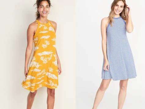 yellow and white dress and blue and white striped dress