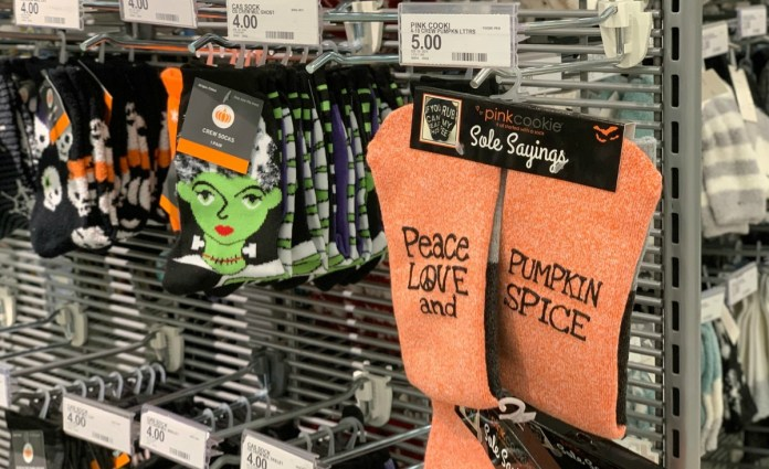 Pumpkin Spice themed women's socks from Target in store on display rack