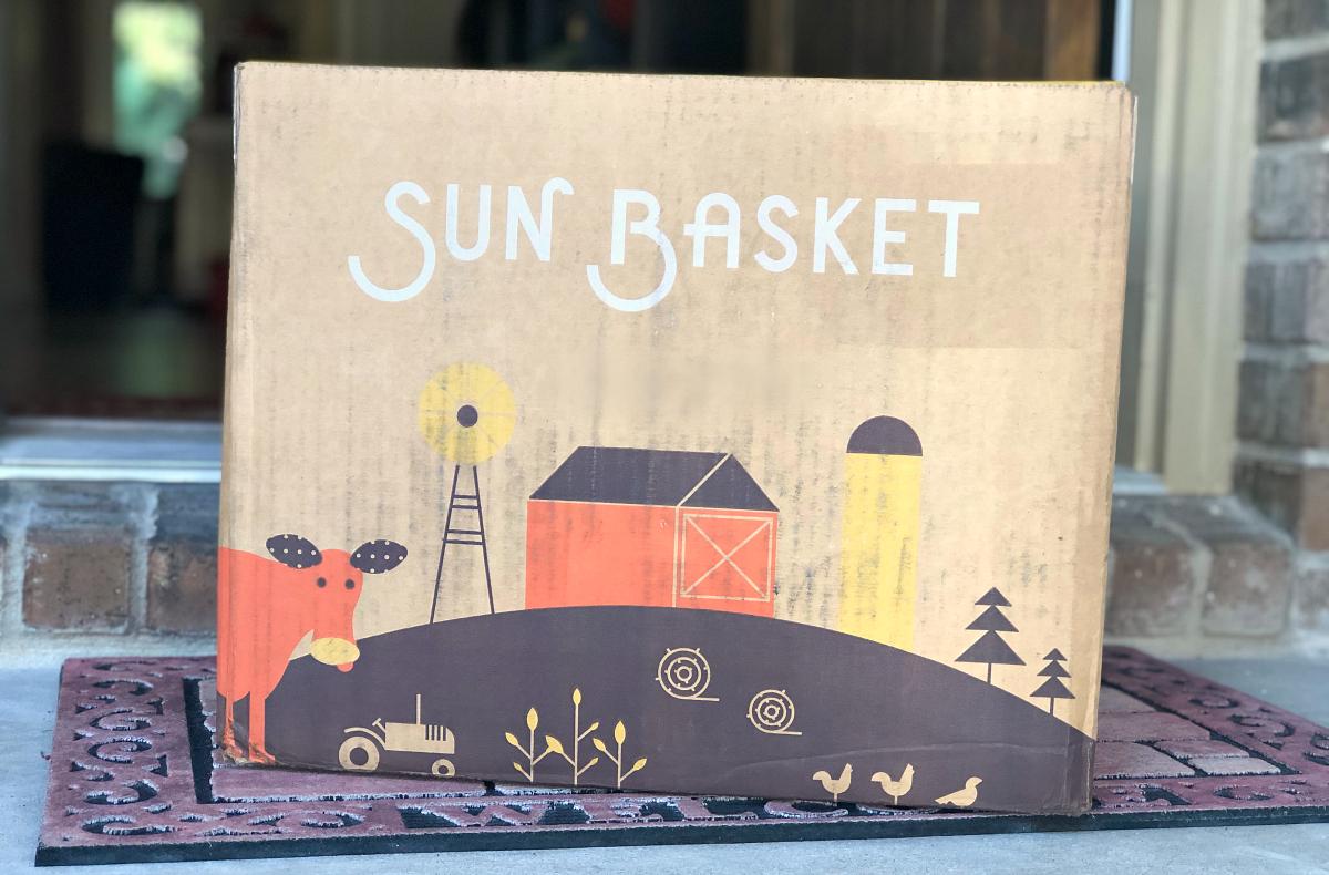 Sun Basket Meal box on porch