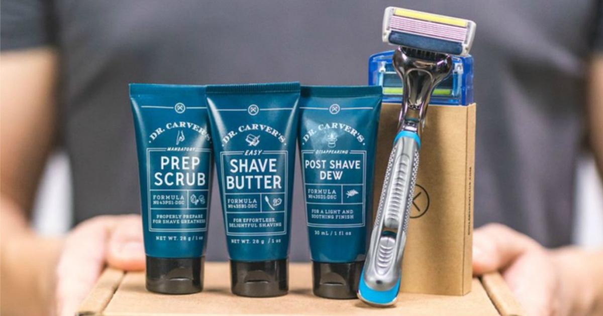 Dollar Shave club razor and creams on a box