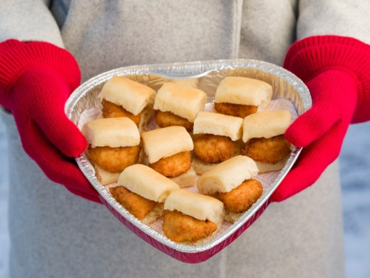 Chick-Fil-A sliders in a heart-shaped tray
