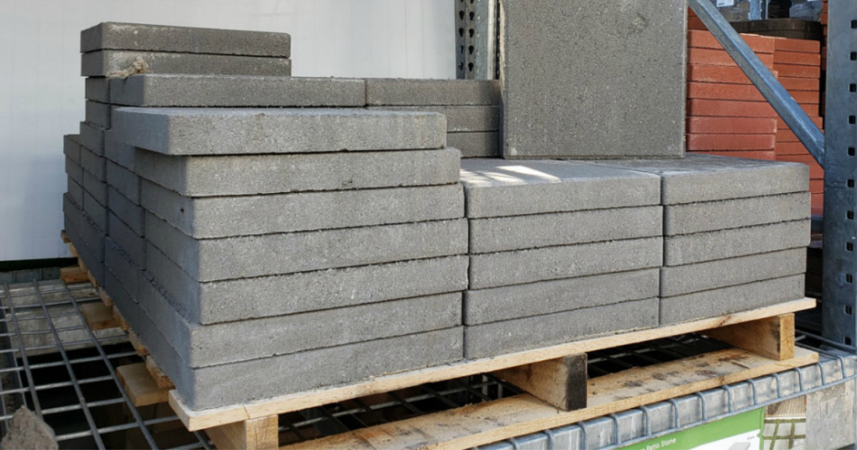 square concrete patio stones just 1 on