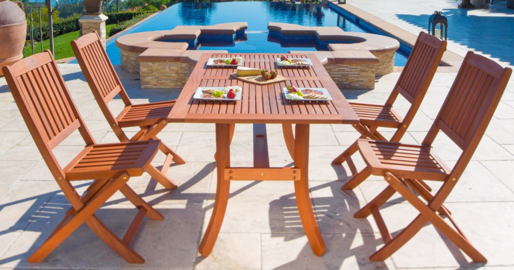 5 piece wooden patio dining set just