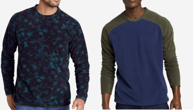 Two styles of men's pullover sweaters
