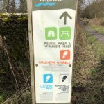 Stocks reservoir information sign with waytmarked path details