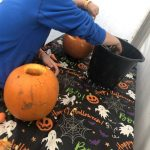 Pumpkin carving table