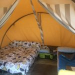 Interior of tent showing beds