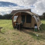 View of front of glamping tent