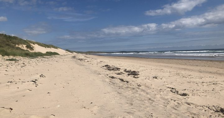 expanse of sandy beach stretching into the distance at Druridge bay