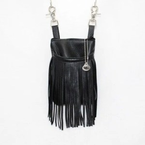 black leather hip bag