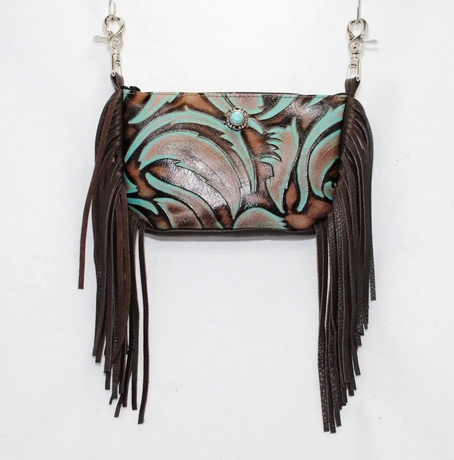 quality leather clip on purse with side fringe