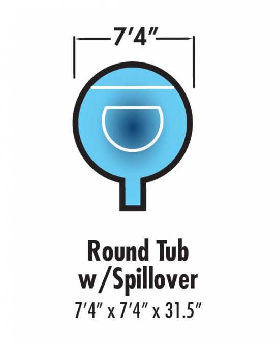 round spa w/spillover