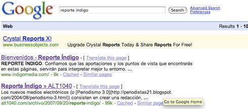 Google Reporte Índigo