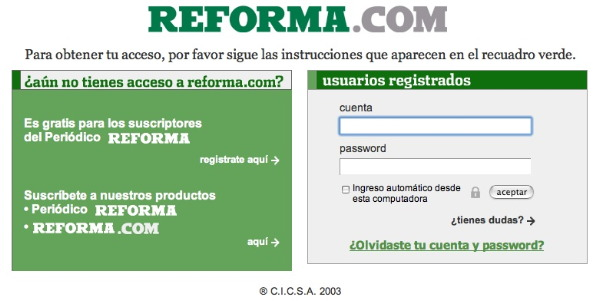 The current state of Reforma.com