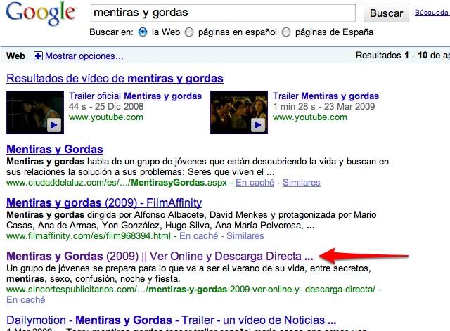 Mentiras y Gordas en Google